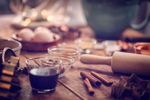 Ingredients and Baking Utensils for Baking Christmas Cookies