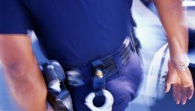 Policeman walking away