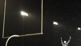 American football referee giving touchdown signal, rear view