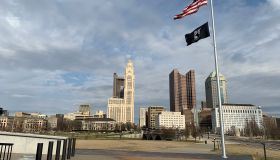 American Flag Over Downtown Columbus Ohio Skyline