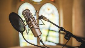 Vocal Recording Microphone in Church